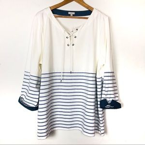 Talbots White And Blue Striped Blouse Roll Sleeves